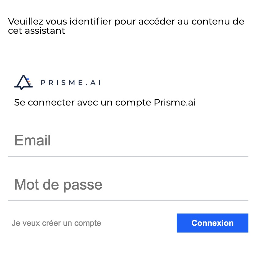 Prisme.ai webchat authentication form
